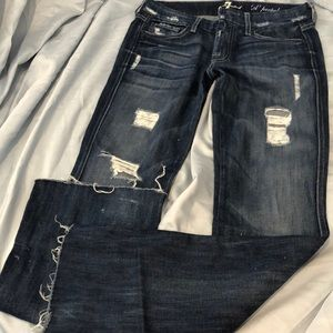 7 For All Mankind Jeans - 7 for all mankind distressed bootcut jeans
